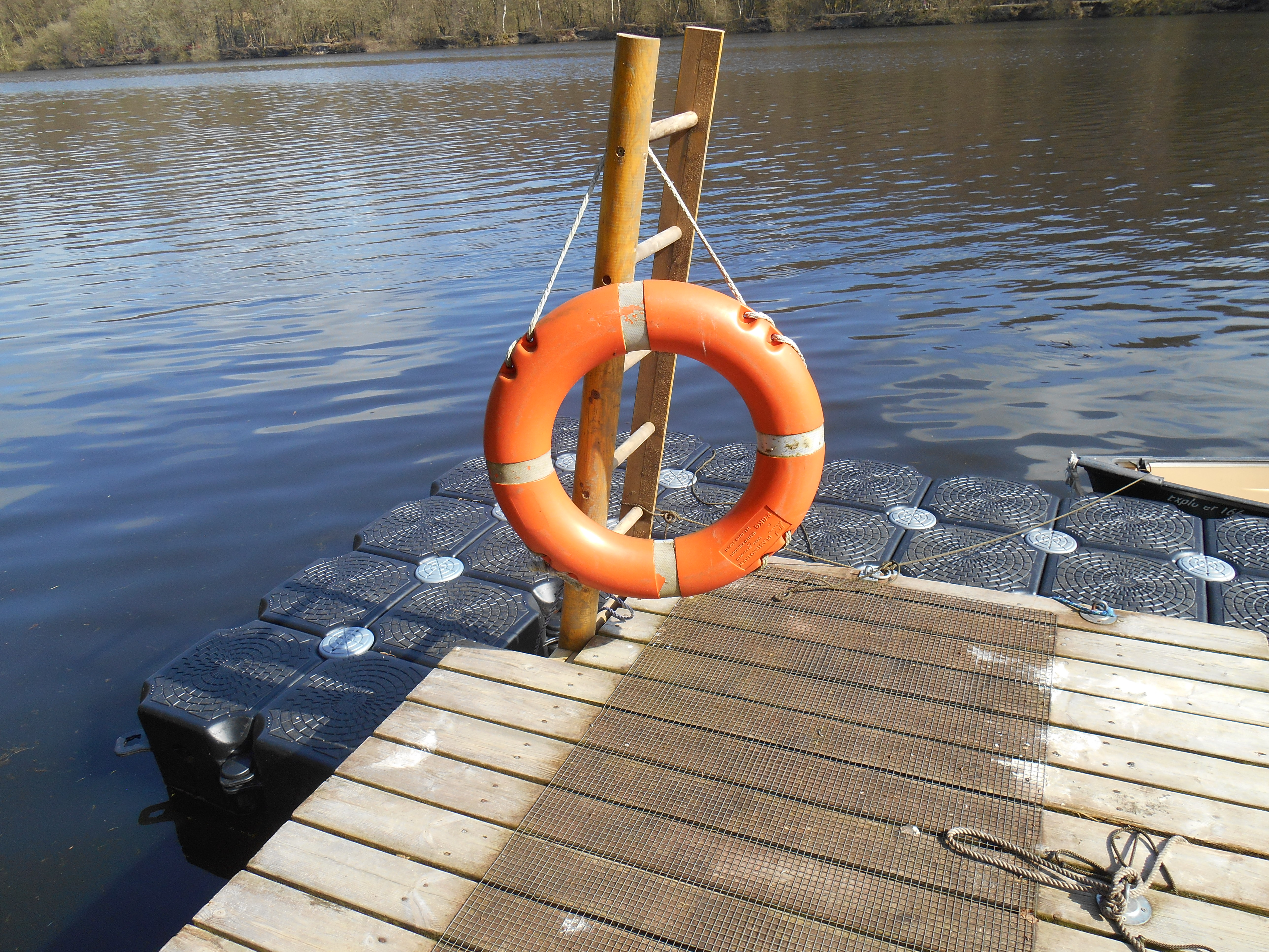 Floating jetty: view from glamping pod.